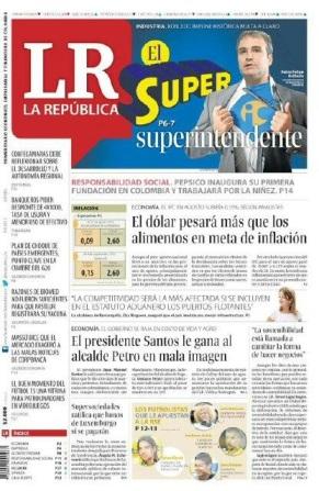Portada del Diario La República que aparecerá el 5 de septiembre, tuiteada por @Gerarigson