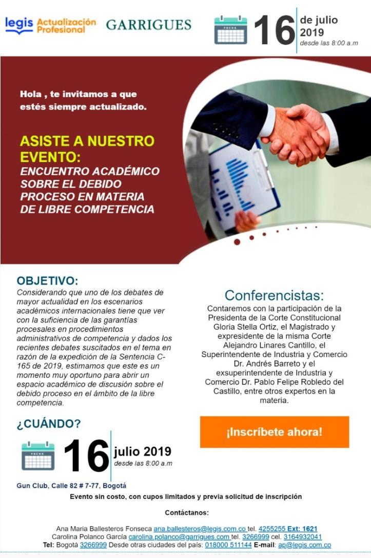 Invitación evento Garrigues Legis
